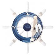 UniqueBella Nautical Mediterranean Style Nordic Wooden Boat Wheel Colour Blue Large