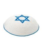 High Quality Knitted White & Light Blue Star Of David Yarmulke Kippah 16 cm Diameter