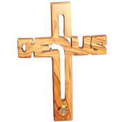 Small Christian Handmade Jesus Wooden Wall Hanging Cross With Soil