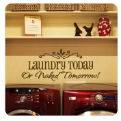 1 X MZY LLC (TM) LAUNDRY TODAY or NAKED TOMORROW Removable Wall Stickers Home Decals Decor Quote Art Vinyl Bedroom