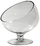 WGV Clear Slant Cut Bowl Glass Vase on Stand/Glass Terrarium, 18cm