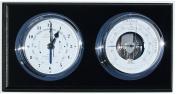 Fischer Instruments 1486GU-06 Marine Barometer with Quartz Clock, Black Mahogany and Chrome
