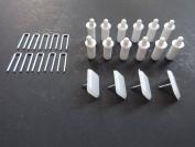 DELUXE PLANTATION SHUTTER REPAIR KIT : 10 Tilt Rod Louvres Staples + PLUS + 12 Spring Loaded Shutter Pins+ PLUS+ 4 Shutter Glides