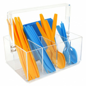 Paylak CNT410 Caddy for Utensils Carrier Acrylic- Forks Spoons Knives Napkin Parties BBQ Picnic