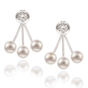 Sterling Silver Pearl and CZ Stud Ear Cuff Earrings
