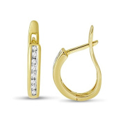 1/4 cttw Diamond Hoops in 10KY Gold