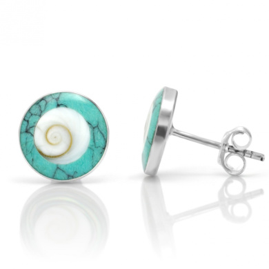 925 Sterling Silver Natural Shiva Eye Shell Inlay Blue Turquoise Round 11 mm Stud Earrings