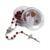 Pope Francis Rose Scented Bead Rosary with the Prayer to Mary Undoer of Knots Blessed By the Pope