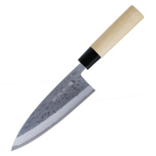 Kanetsune Deba Kitchen Knife with Damascus Blade and White Magnolia Handle