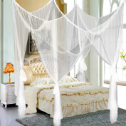 Popamazing 4 Corner Post Bed Canopy Mosquito Net Full Queen King Size Netting Bedding White/Black