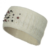 Knit Head Band with Pearl - Off White