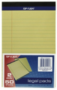 Top Flight Legal Pads, 13cm x 20cm , .950cm Rule, Canary, 50 Sheets per Pad, 2 Pads per Pack