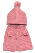 PromiseTrue Botton Wool Shawls and Knitting Hat Set for Unisex-Baby keeping Warm,Pink