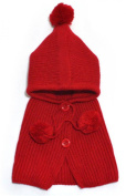 PromiseTrue Botton Wool Shawls and Knitting Hat Set for Unisex-Baby keeping Warm,Red