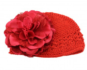 Ruichy Baby Girl Knitted Flower Cap, Orange
