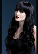 Womens Halloween Deluxe Gothic Long Curly Black Isabelle Wig
