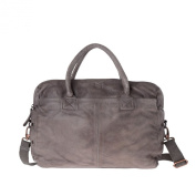 Briefcase handbag for men washed leather garment-dyed DUDU Grey Stone