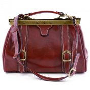 Doctor Leather Bag Red - Genuine Leather Bags Made In Italy - Business Bag