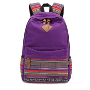 TOOGOO(R) Ladies Vintage Canvas Backpack Retro Vintage backpack for outdoor camping picnic Sports University backpack schoolbag Purple