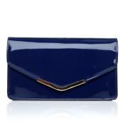 LUCKY Navy Blue Patent Medium Size Clutch Bag
