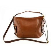Women Shoulder Leather Bag Cognac Brown - Genuine Leather Bags Made In Italy - Woman Bag