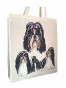 Shih Tzu Group Cotton Shopping Bag with Gusset and Long Handles Perfect Gift