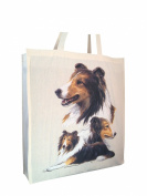 Shetland Sheepdog Sheltie Group Breed of Dog Cotton Shopping Bag with Gusset and Long Handles Perfect Gift