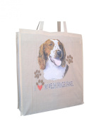 Welsh Springer Heart Cotton Shopping Bag with Gusset and Long Handles Perfect Gift