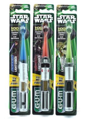 GUM Star Wars Lightsaber Toothbrush with Flashing Timer x 1