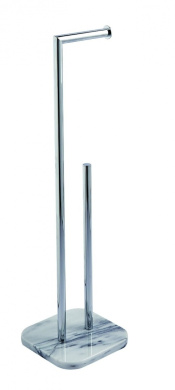 Athena Marble Chrome Free Standing Toilet Roll Holder