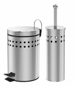 Luga - 3 Litre Stainless Steel Pedal Bin & Toilet Brush Holder Bathroom Set