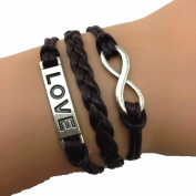 infinity love infinity Bracelet-Brown