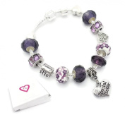 Purple Special SISTER Starter Charm Bracelet Pandora Style Gift Boxed 20cm