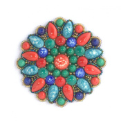 Porcelain Big Flower Brooch Red Green Blue-Costume Jewellery