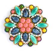 Porcelain Pink Flower Brooch Large Emerald Costume Jewellery-Blue