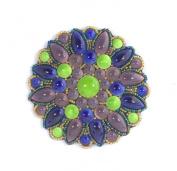 Porcelain Big Flower Brooch-Purple/Green/Blue-Costume Jewellery