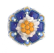 Brooch Flower Porcelain-orange and Blue quartz, Crystal and Glass Beads-Costume Jewellery