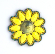 Yellow Round Flower Brooch made of Porcelain and Glass Beads-Costume Jewellery