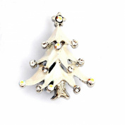 Designer Jewellery - Small Snowy White Enamel and Crystal Christmas Tree Brooch
