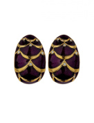 Gold Plated Enamel Cabouchon Earring with Cubic Zircons