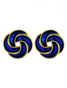 Vintage, Gold Plated, Cabouchon,Dark Blue, Enamel Earrings