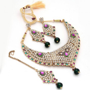 Zewar Women's Pearl Pacchi Kundan Jadau Gemstone Ruby Emerald Panna Moti Manak Fashion Set White