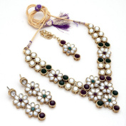 Zewar Women's Kundan Polki AD Jadau Jhumka Cheap Handmade Fine CZ Jadau Necklace Set With Tika White