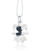 Padre Nostro Microsphere Necklace 80 cm Long with Girl Pendant 28 x 21 mm in Rhodium-Plated 925 Silver