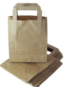 100 Small Brown Kraft Paper Carrier Bags With Handles SOS Block Bottom Size 7 x 8.9cm x 22cm Food Takeaway Party 80gsm