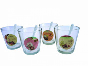 Aulica 508001 Set of 4 Ice Cream Cups, White Glass Fruit Spoon