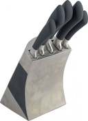 Original Sabatier Maison 5 Piece Knife Block Set with High Carbon German Steel . Two Tone Stainless Steel Block in Silver and Black comes with FREE Homeware Bargains 6 Steak Knives