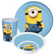 Minions Child's crockery set with plate, cereal bowl and cup made of melamine