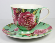 Chintz Rose, Fine China Cup and Saucer (Green) From The Leonardo Collection, Cup