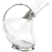 Cavagnini - Glass and pewter inclined decanter bottle